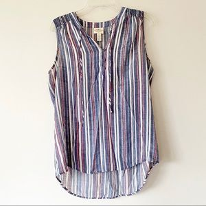 St John's Bay Sleeveless Blouse Blue Size Large